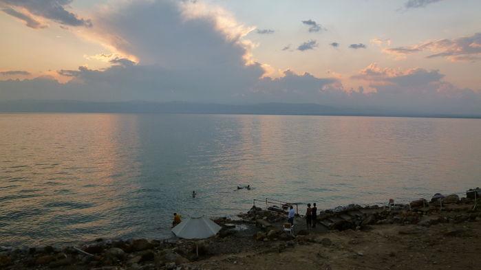 solnedgång över Döda havet