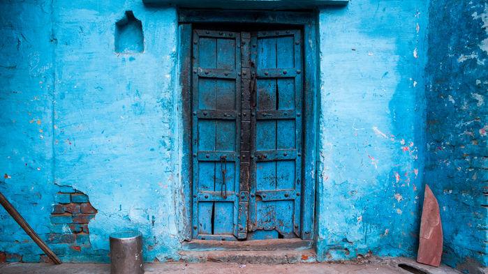 blå dörr i Agra