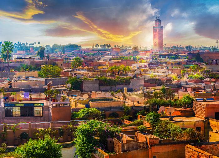 Vy över Medinan i Marrakech