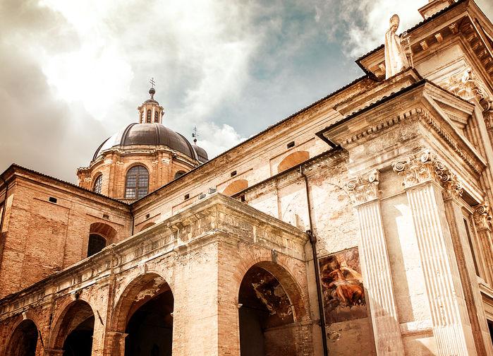 Urbinos katedral i grodperspektiv