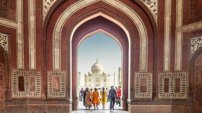 Taj Mahal från ingången
